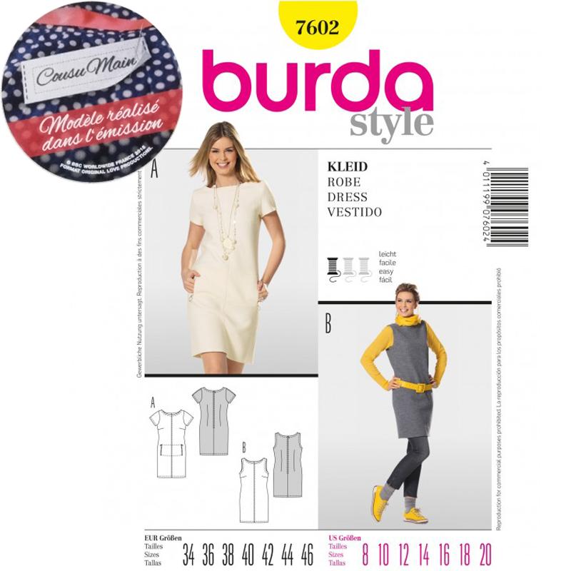 N°7602 Couture Cousu La Petite Robe Promotion Burda Main Patron qdIwOq