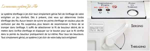 enfilage jet d'air surjeteuse babylock Enlighten coudre paris