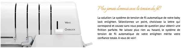 tension fil automatique surjeteuse babylock enlighten coudre paris