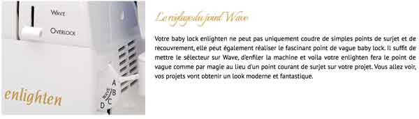 point wave vague surjeteuse babylock enlighten coudre paris