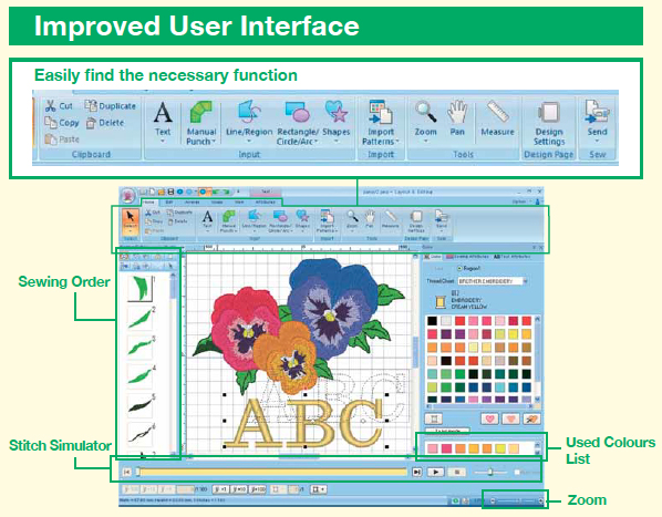 interface logiciel brother pe design 10