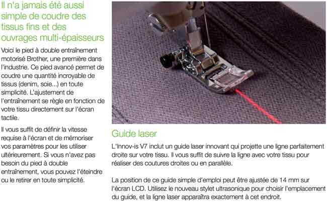 Pointeur laser machine à coudre et broder Brother Innov'is V7 coudre paris