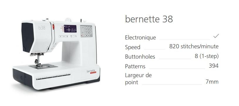 nouvelle machine à coudre Bernette 38
